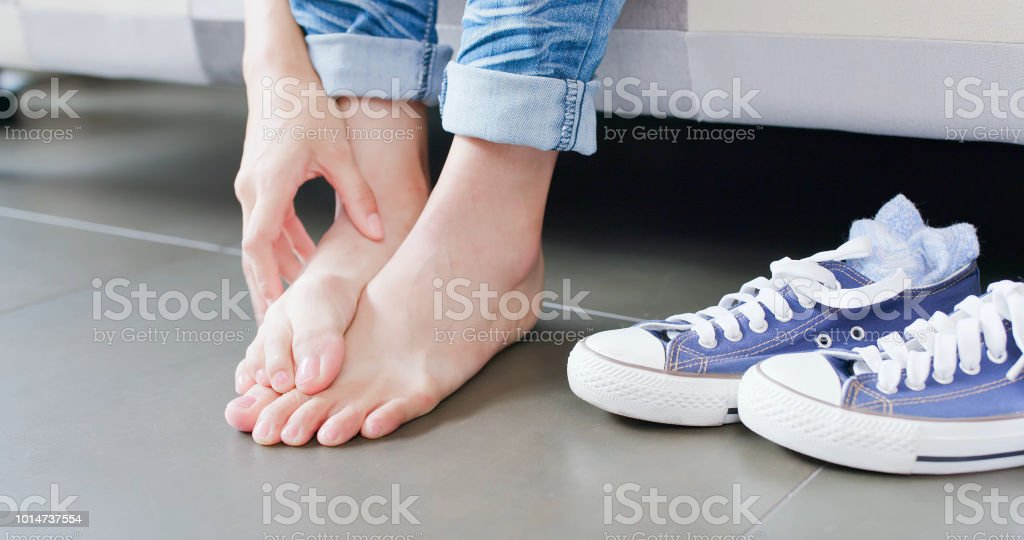 close up woman athlete foot stock photo