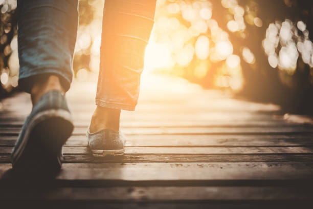 Close up woman walk in to the wild with sunset and sunlight background. Close up woman walk in to the wild with sunset and sunlight background. Travel adventure and freedom concept. Vintage tone filter effect color style. walking stock pictures, royalty-free photos & images