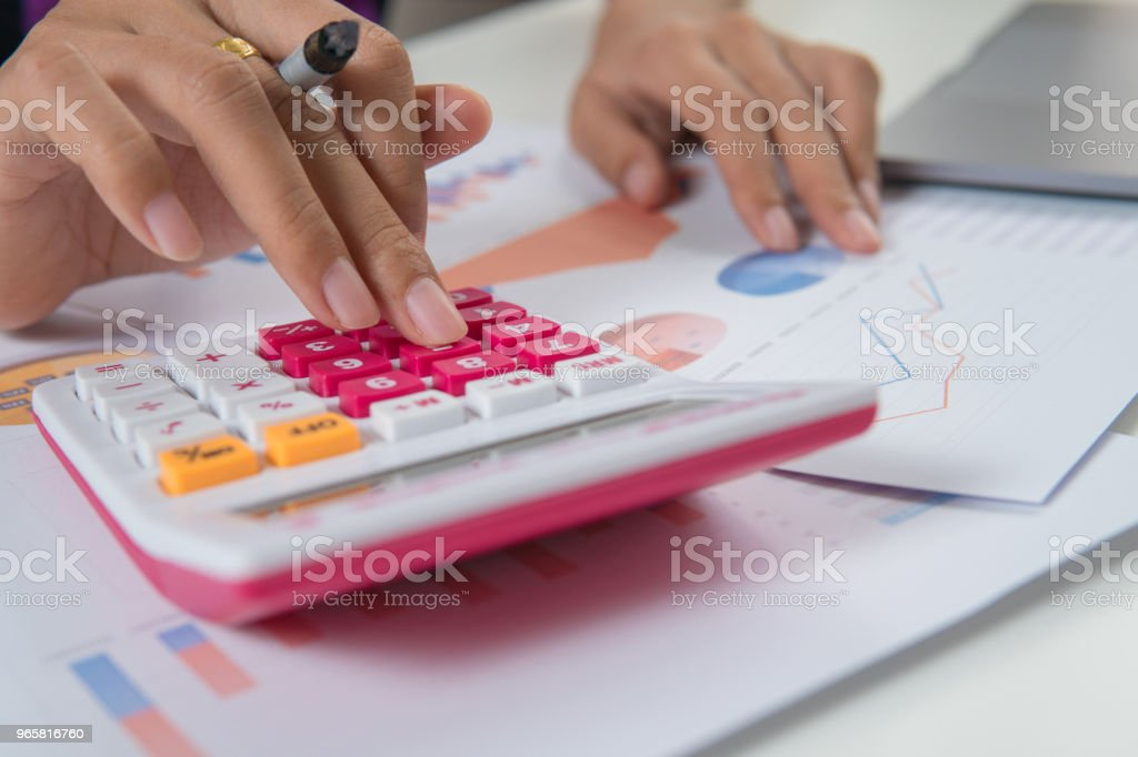 Close up woman working at home office - Royalty-free Accountancy Stock Photo