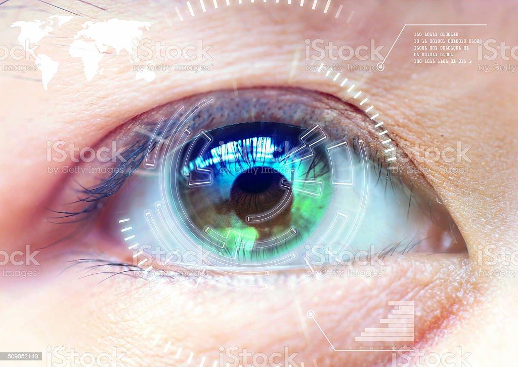Close up women eye scanning technology in the futuristic, operat stock photo