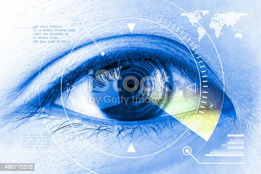510584002istockphoto Close up women eye scanning technology in the futuristic. 495775378