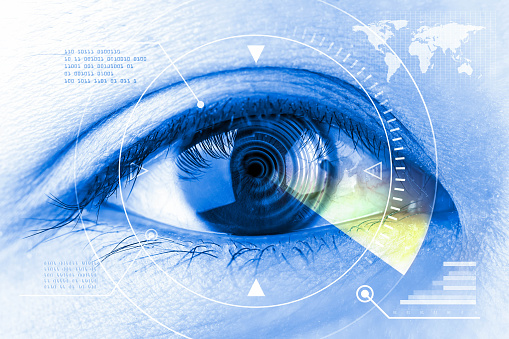 510584002 istock photo Close up women eye scanning technology in the futuristic. 495775378