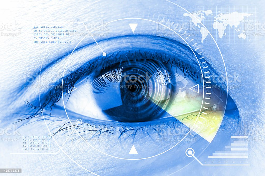 Close up women eye scanning technology in the futuristic. stock photo