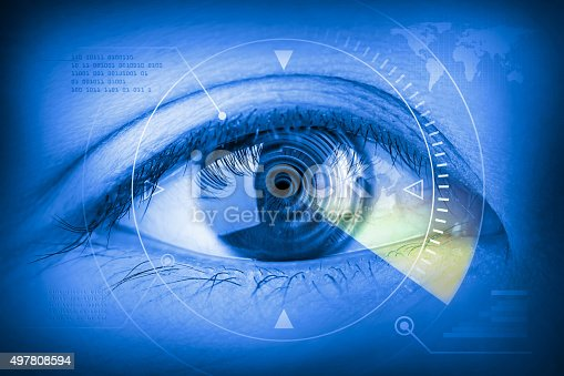 510584002istockphoto Close up women eye scanning technology in the futuristic. 497808594