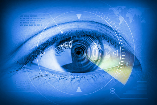 510584002 istock photo Close up women eye scanning technology in the futuristic. 497808594