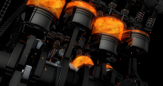 istock Close Up Working V8 Engine Rendering With Explosions And Sparks 961804878
