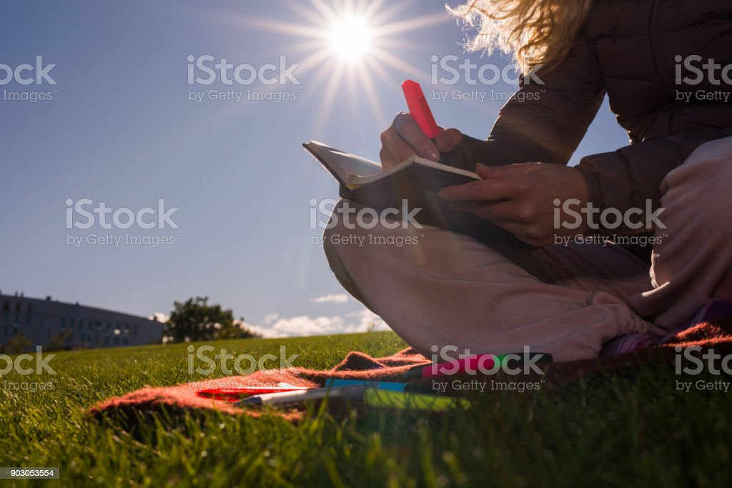 Close up writing down in notebook. stock photo
