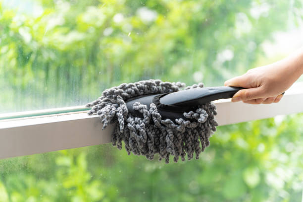 Close up young Asian woman holding dust wiper cleaning house window stock photo