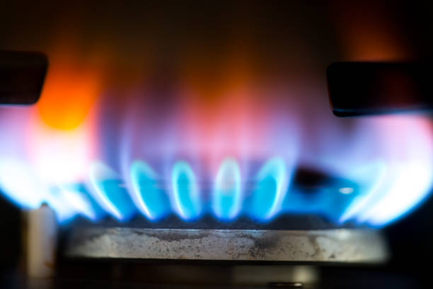 Close Up-Burner Gas stock photo