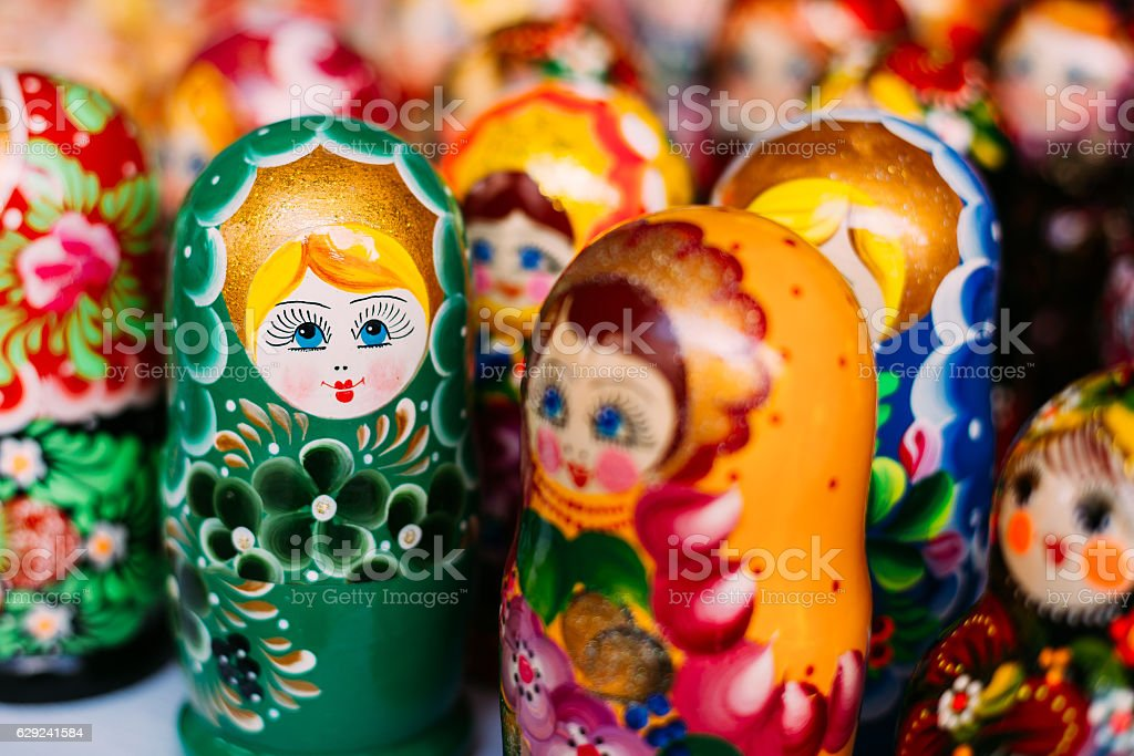 Close Varicoloured Matryoshka, Russian Nesting Dolls, Famous Old stock photo
