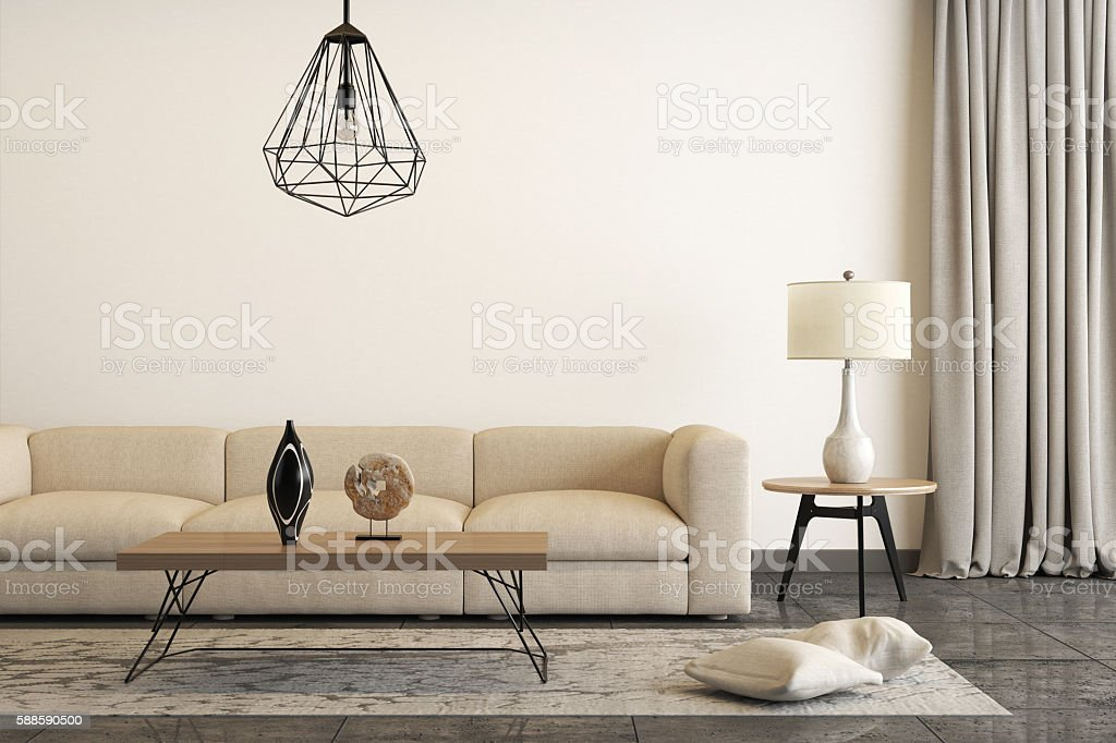 Close view at a white sofa with a table lamp – Foto