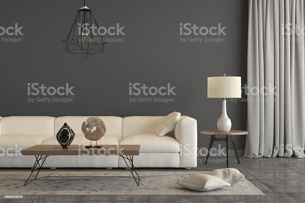 Close view at a white sofa with a table lamp