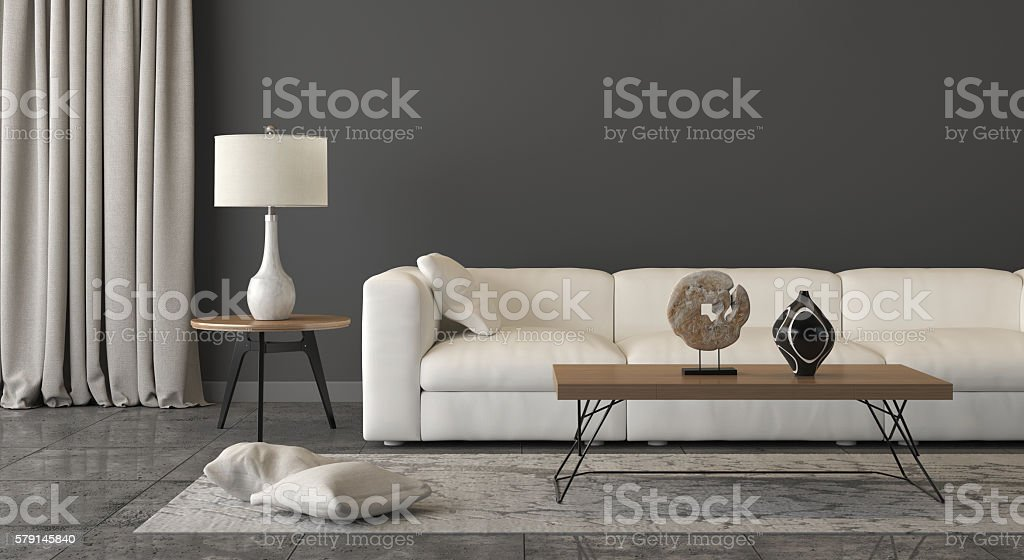 Close view at a white sofa with decoration – Foto