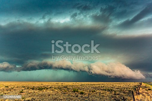 Close view dangerous thunderstorm with gust front and shelf cloud producing hail and torrential rain in New Mexico