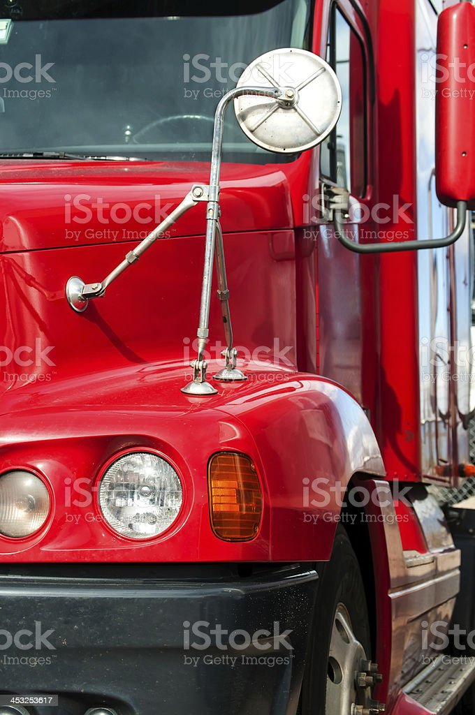 Close View of a Semi-Truck Front End stock photo