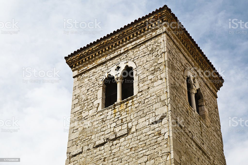 Close View of Bell Tower in Rijeka, Croatia royalty-free stock photo