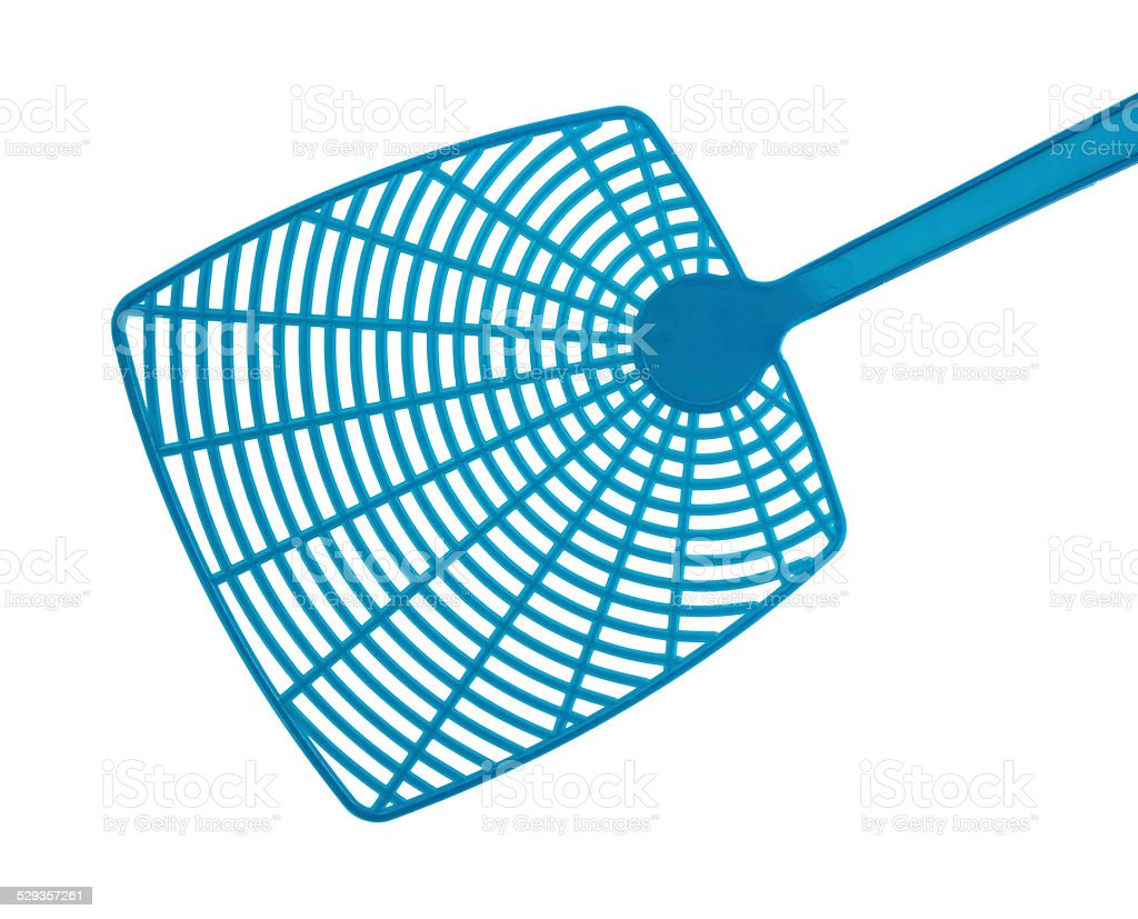 Close view of blue fly swatter stock photo