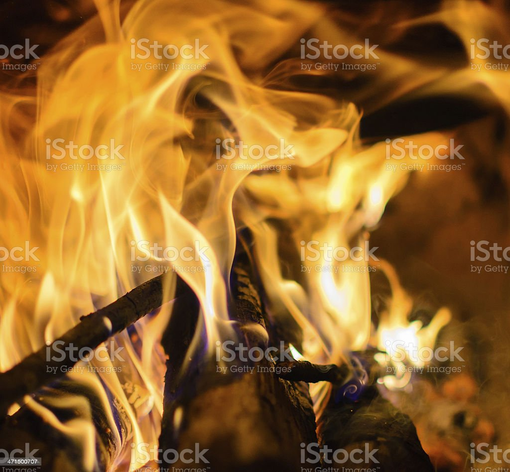 close view of fire on the wood royalty-free stock photo