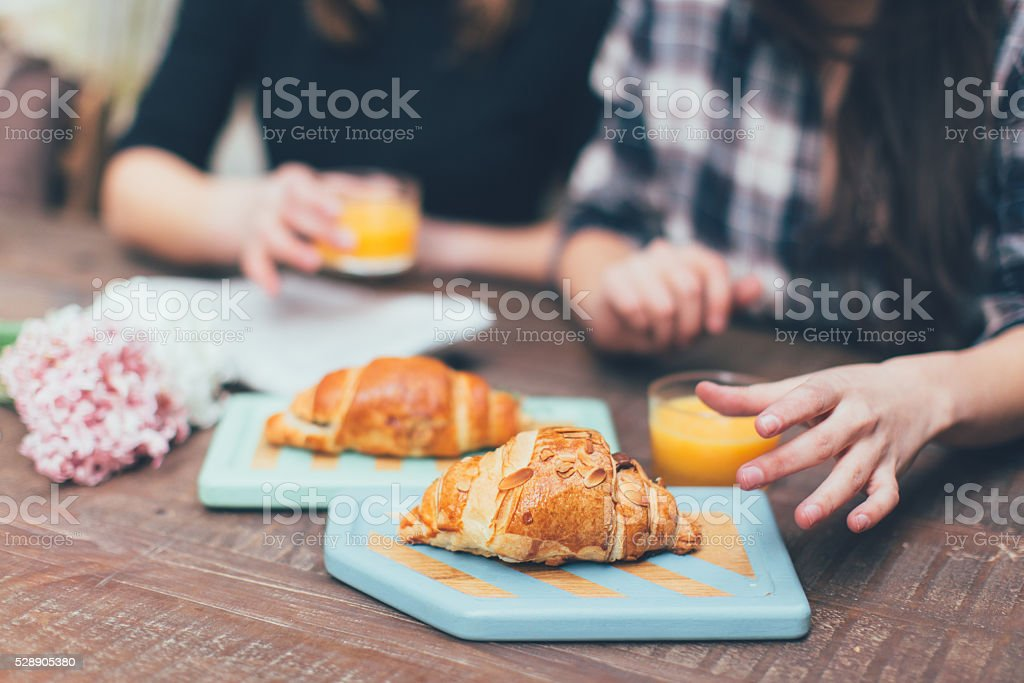 Close view of hands taking food and drink
