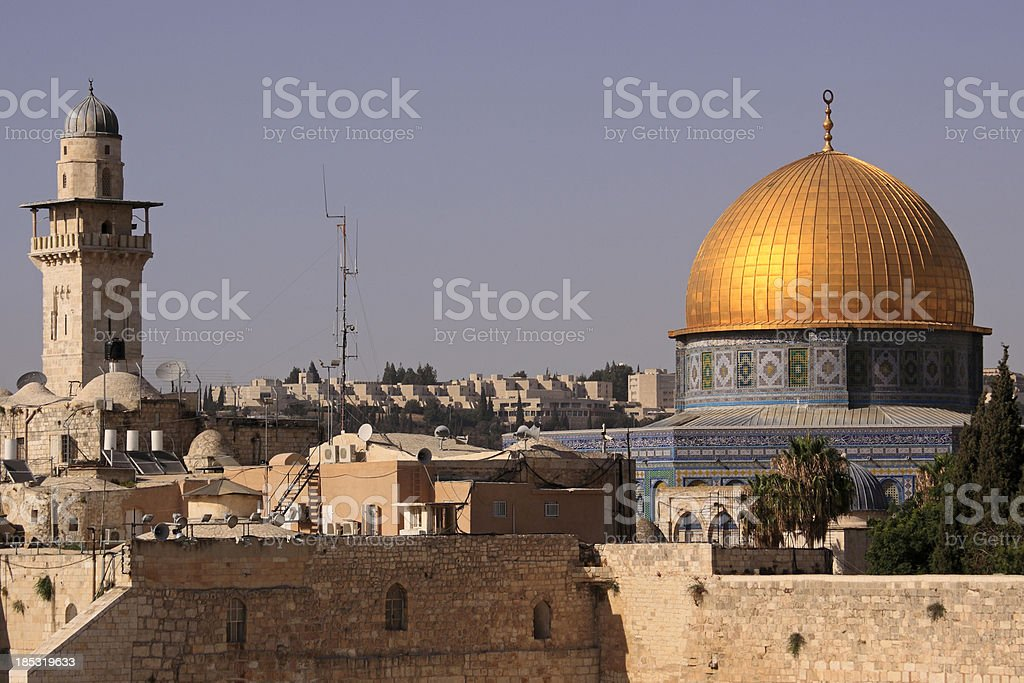 "Close view of Jerusalem Old City ""Close view of Jerusalem Old City featuring Western Wall, Dome of the Rock and Minaret, Jerusalem, Israel.More images from Israel:"" Architectural Dome Stock Photo"