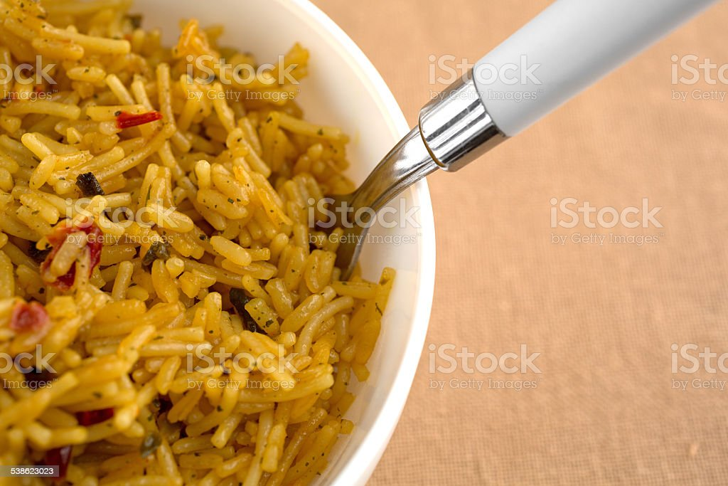 Close view of Mexican rice in a bowl stock photo