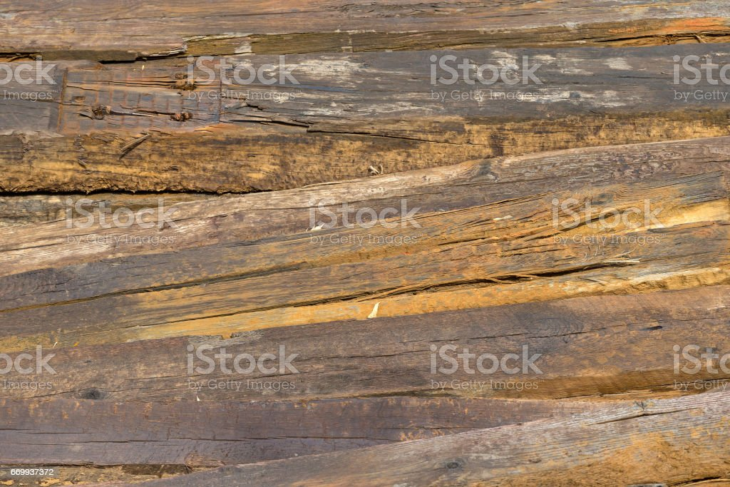Close view of old railroad ties stock photo
