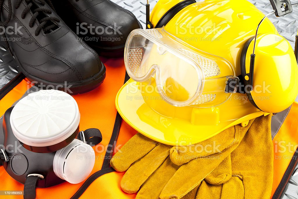 Close view of personal safety workwear stock photo