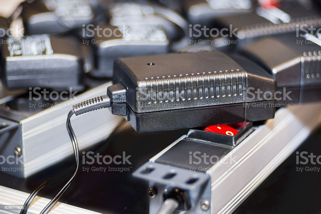 Close view of power supplies stock photo