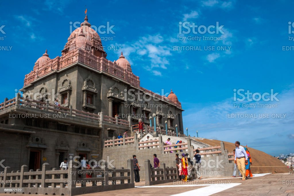 A close view of Swami Vivekananda Memorial center situated on a small rock island in Kanyakumari stock photo
