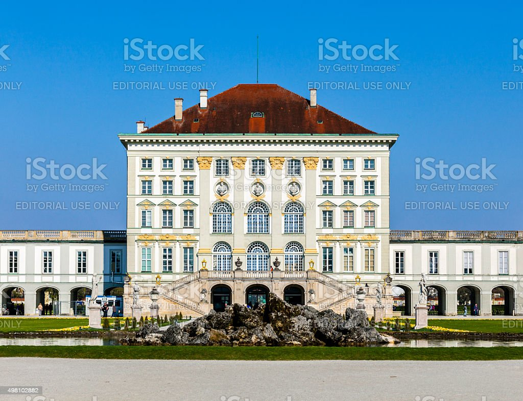 close view of the historic castle Nymphenburg of Munich stock photo