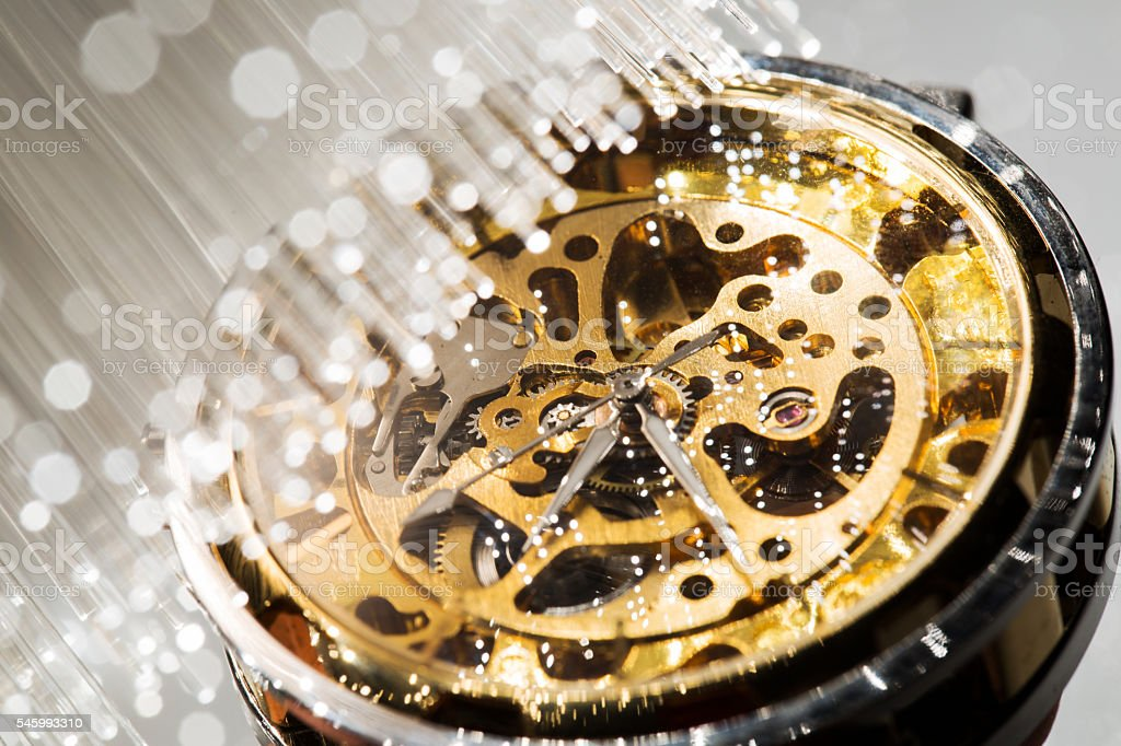 close view of watch mechanism and Fiber optics background stock photo