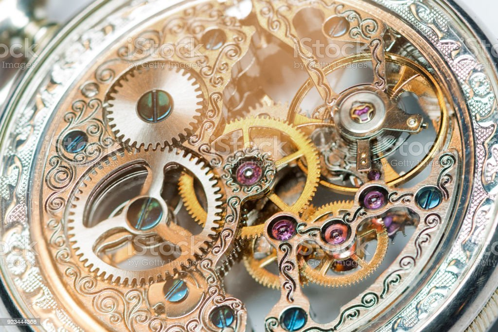 close view of watch mechanism stock photo