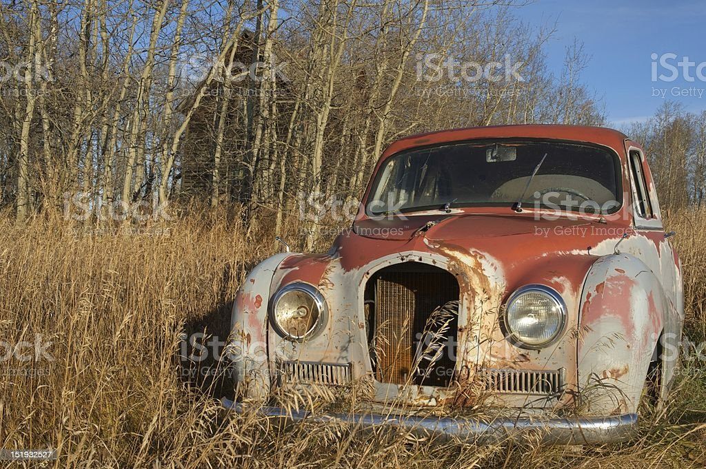 Close view ofabandoned antique car royalty-free stock photo