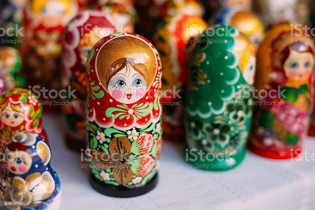 Close View OfColorful Matryoshka, Traditional Russian Nesting Do stock photo
