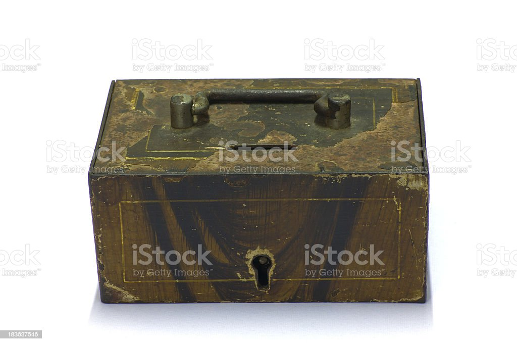 close vintage chest isolated on white royalty-free stock photo