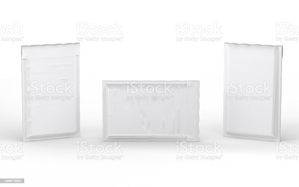 Close  white  bubble padded envelope with clipping path stock photo