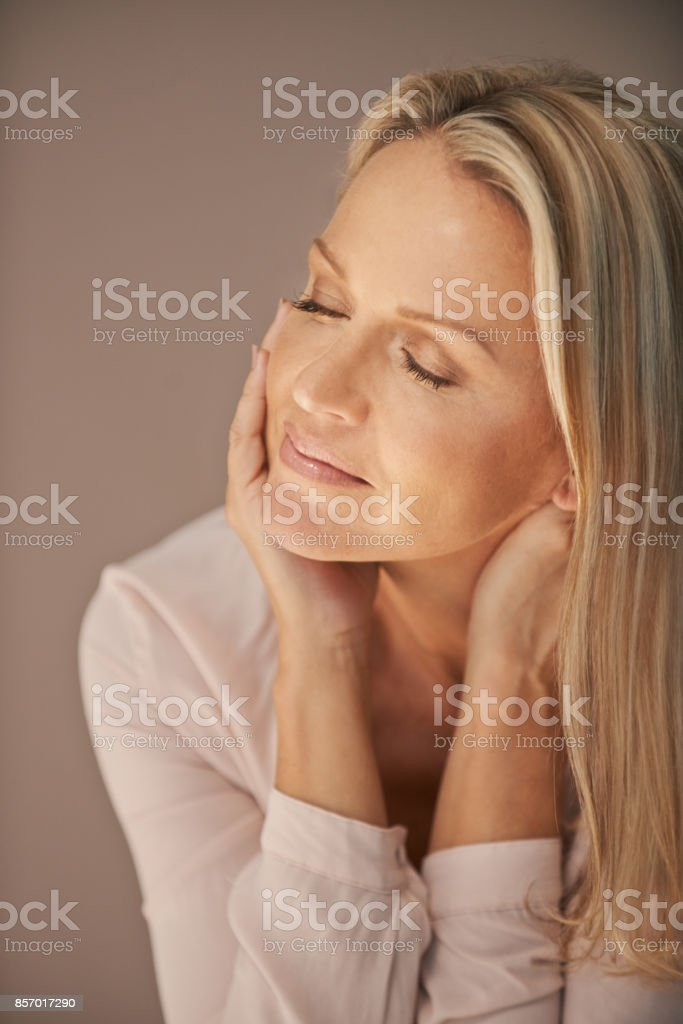 Close your eyes and enjoy the calm stock photo