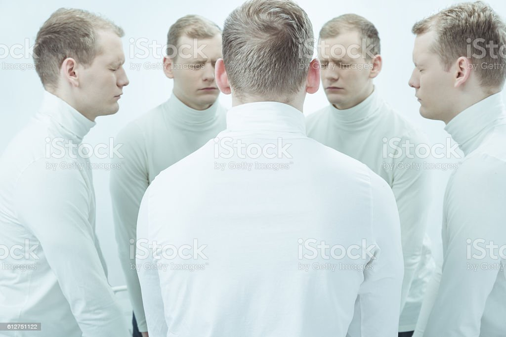 Close your eyes and try to listen stock photo
