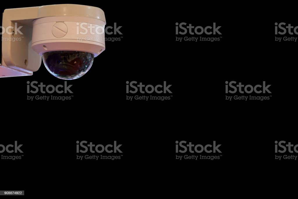 Close-curcuit television,Security CCTV in black background for save vedio anti theft and crime in place. stock photo