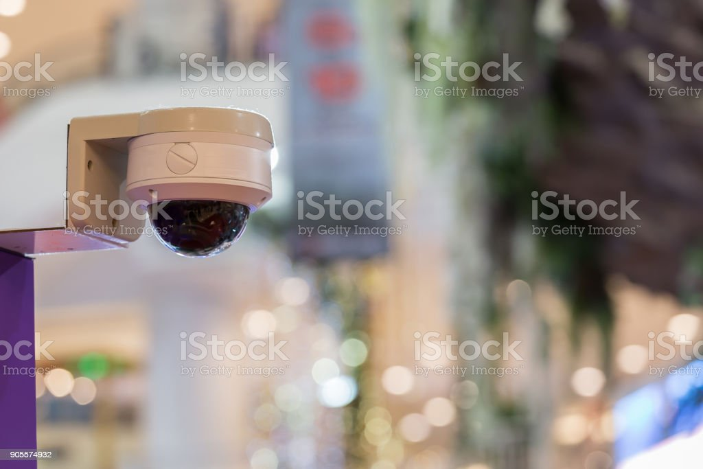 Close-curcuit television,Security CCTV in office blurred  background for save vedio anti theft and crime in place. stock photo