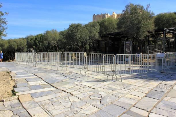 Site archéologique fermé de l'Acropole pendant l'épidémie de Coronavirus. - Photo