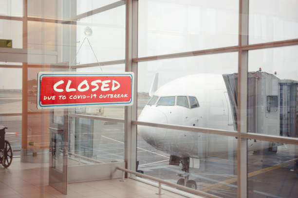 Closed airport because of the coronavirus pandemic Closed airport because of the coronavirus pandemic aground stock pictures, royalty-free photos & images