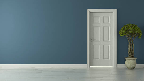 closed american door with blue wall stock photo