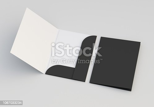 Closed and open mock-up folders on light background. 3d rendering.