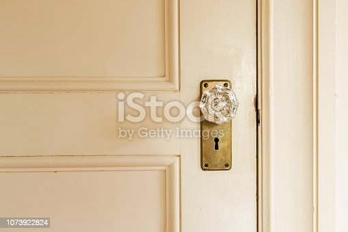Close up of closed white door with crystal knob
