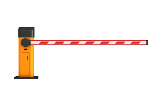 closed automatic barrier on white background. Isolated 3D illustration