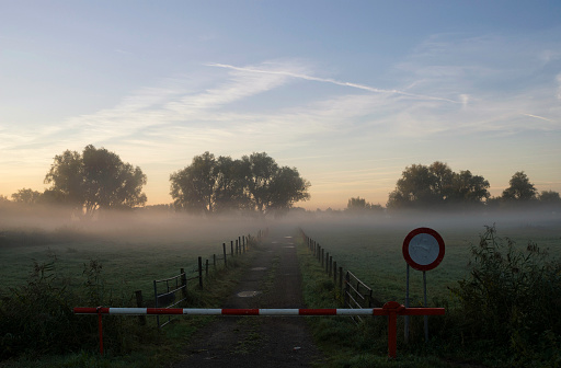 Closed barrier in mist