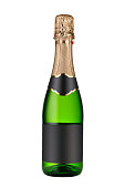 Closed bottle of champagne wine with blank labels isolated on white background