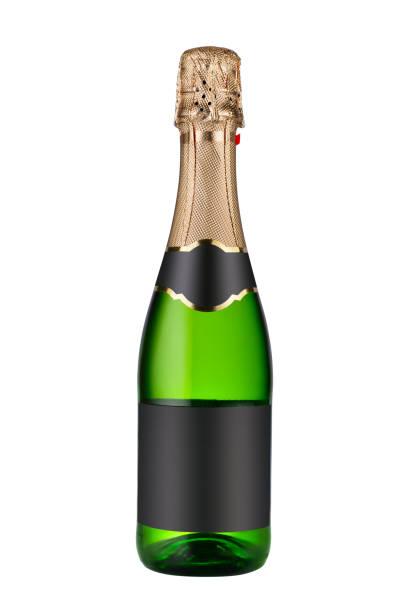 geschlossene flasche champagner wein isoliert - mini weinflaschen stock-fotos und bilder