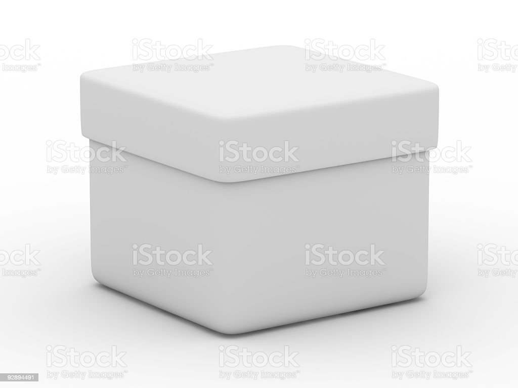 Closed box on white background. Isolated 3D image royalty-free stock photo